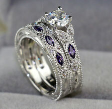 5mm Zircon Cat Eye Amethyst 10KT White Gold Filled Women's Wedding Ring Sets Sz7