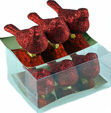 Set Of 6 Red Dazzling Glitter Encrusted Song Bird Christmas Tree Decorations