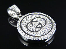 White Gold On Sterling Silver Lab Diamond Interlocking G Piece Pendant Charm 1""
