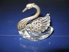 Vintage 925 Silver & Crystal Glass Swan Salt Articulated Wings