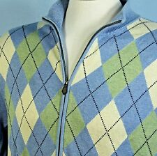 Brooks Brothers 346 XL 100% Supima Cotton Argyle Zip Up Cardigan Golf Sweater