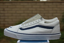 VANS VAULT OLD SKOOL ZIP LX SZ 9.5 LEATHER ZIPPER WHITE BLUE VN 0YR51EF