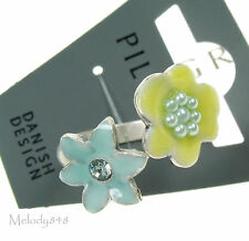 PILGRIM Adjustable Ring ENCHANTED FLOWER Silver/Pastel Swarovski & Enamel BNWT
