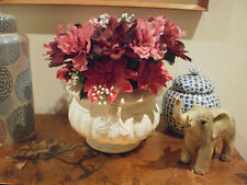 ARTIFICIAL FLORAL ARRANGEMENT-PINK/ RED DAHLIAS IN  FRENCH PROVINCIAL STYLE POT