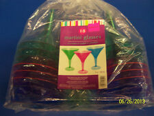 Bright Jewel Tone Summer Luau Cocktail New Year's Party Plastic Martini Glasses