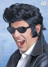 Premium Black Quiff Wig  Danny Grease Elvis Presley Rocker Fancy Dress