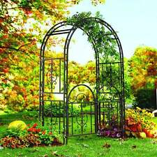 Garden Gate Trellis Arch Metal Sturdy Wrought Iron Wedding Arbor Yard Bronze NEW