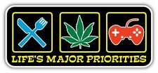 Major Priorities Marijuana Weed Pot Games Funny Bumper Vinyl Sticker Decal 7X3""