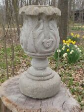 """Vtg 11"""" Tall Cement Pineapple Fountain Topper Garden Weathered Concrete Statue"""