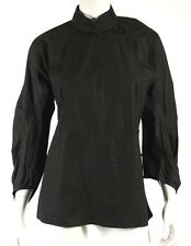 PRADA Black Cotton Poplin Standing Collar Wrap Style Blouse 46