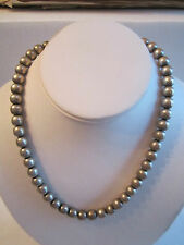 """STERLING SILVER NECKLACE - BEADS - 16"""" LONG - 1.4 OZ"""