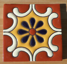 "8~Talavera Mexican 4"" tile Hi Relief Terra Cotta white yellow Cobalt Blue flower"