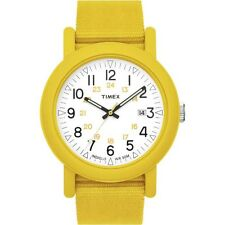 NEW-TIMEX UNISEX YELLOW PLASTIC BAND+RESIN INDIGLO WHITE DIAL WATCH-T2N490