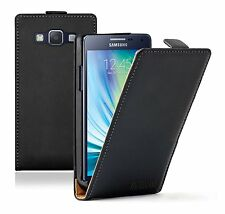 Ultra Slim BLACK Leather Case Cover Pouch For Samsung Galaxy A5 (+2 FILMS)