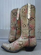 All Leather, Handmade Pink Python Snake Cowboy Boots, PCM Woman's Size 7.5