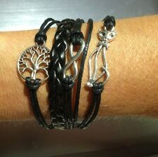 NEW STUNNING BLACK WEAVE & PLAIT WIDE BRACELET WITH SILVER CAT & TREE CHARMS
