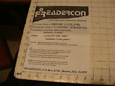 READERCON (the sercon without shame) boton ma 1987 flyer