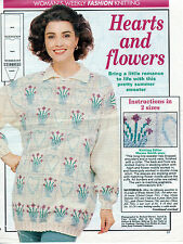 ~ Pull-Out Knitting Pattern For Lady's Hearts & Flowers Sweater  ~
