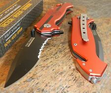 TAC-FORCE Assisted Opening RED FIRE FIGHTER Glass Breaker BELT RESCUE Knife NEW