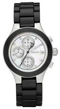 DKNY Chronograph White Mother Of Pearl Black Band Chrono Ladies Watch NY8064