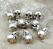 Set of 20 Pewter 5.5 mm SKULL BEADS with Vertical Hole - 1451