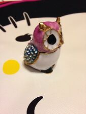 PINK OWL Trinket box metal miniature figurine