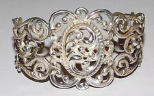 Danecraft Sterling Silver Repoussé Filigree Open Work Cuff Bracelet