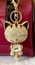 Extra Large Crystal Alloy Lucky Cat  Purse Charm Key Chain Key Ring