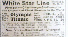 "1912 New York Tribune newspaper w AD for TITANIC Ocean Liner ""return voyage"""