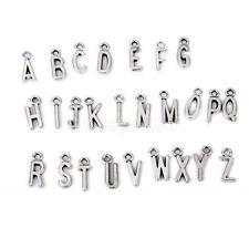 100 Antique Tibetan Silver Alloy Letters Alphabet Charm Pendants DIY Jewelry