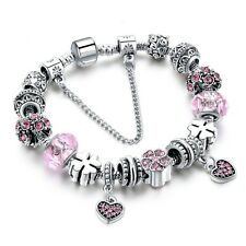 Silver Glass Beads Bracelet With Pink Crystal European Charms Fit Women F