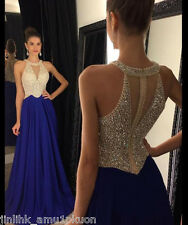 Royal Blue Long Beaded Prom Dresses Round Neck A-Line Party Formal Evening Gowns