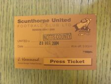28/12/2004 Ticket: Scunthorpe United v Notts County [Press] . Bobfrankandelvis t