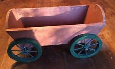 "Vintage Small 13"" Wood Wagon Rolling Cart Pot Flower Planter Plant Stand"