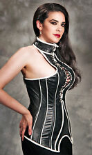 ALTER EGO LEATHER CORSET Size 28 Black White High Collar Laced Front Zip Back