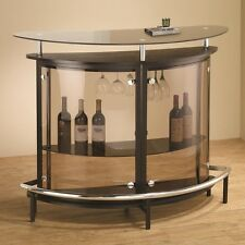 Home Bar Table Glass Top Metal Wine Dining Furniture Foot Rail Stemware Storage