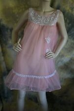 vtg 60s 70s SWEET BABYDOLL silver PINK PEACH nightgown lingerie M nylon
