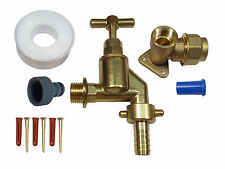 20mm MDPE Outside Tap Kit, with Heavy Duty Tap, Brass Wall Plate & Hose Fitting