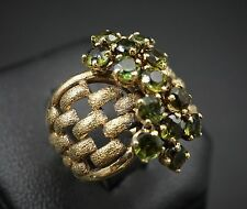 Unique 18k Yellow Gold Green Tourmaline Woven Cluster Ring Size 6.25 RG748