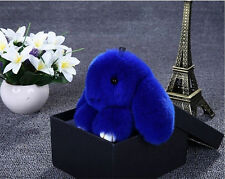 Bunny Rex Rabbit Fur Phone Car Pendant Handbag Girl Key Chain Ring Pom Blue