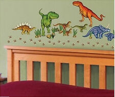 DINOSAURS wall stickers 58 decals scrapbook T-REX  hatching egg dino foot prints