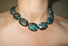 "Turquoise Real Nuggets Stone Chunky Necklace 18"" 45.5 cm silver clasp"