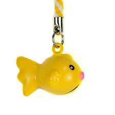 GOLDFISH BELL CHARM Cell Mobile Phone Strap Brass NEW Fish Lanyard Gift Tiny