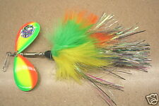 Musky Mayhem Electric Bunny Buchtail Musky Pike Lure Firetiger Inline Spinner