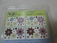 """New NoJo """"PLUM DANDY"""" Floral Removable Wall Decals  4 Sheets (10x18) Flower NEW"""