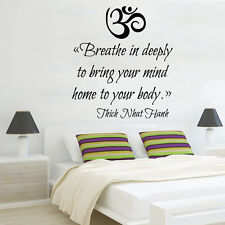 Om Sign Wall Decal Quote Breathe In Deeply Yoga Vinyl Bedroom Boho Decor KI77