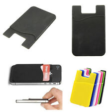 Silicone Wallet Credit Card Cash Pocket Stick on Adhesive Holder Pouch For Phone