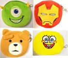 BOYS GIRLS PLUSH COIN ZIP UP PURSE IRON MAN SPONGEBOB BAD TED MIKE MONSTERS INC
