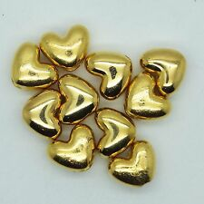 12mm Heart Beads Metalized Large Hole Bright Gold Finish pk/10