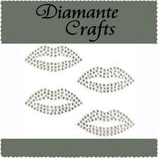 4 x 34mm Clear Diamante Lips Rhinestone Vajazzle Self Adhesive Body Art Gems